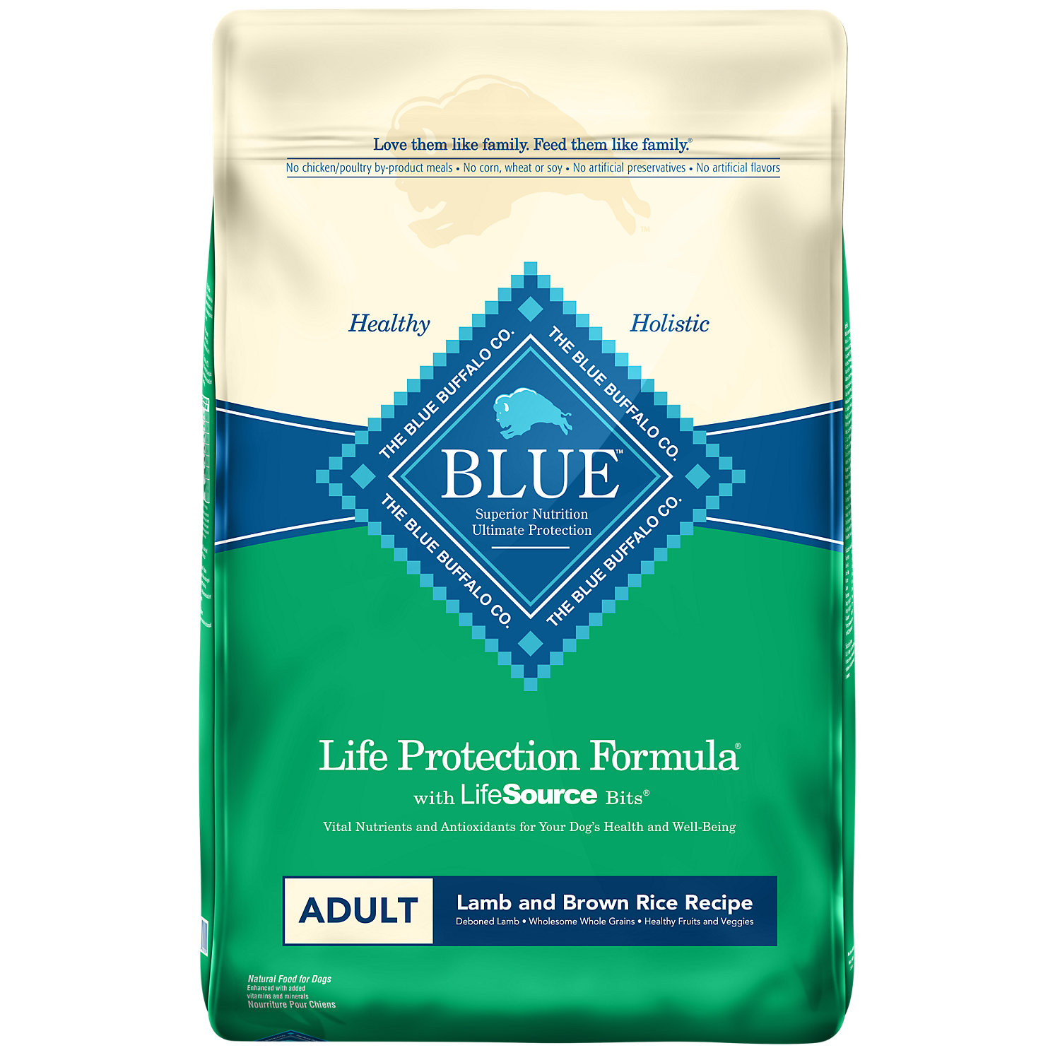 Blue Buffalo Lamb Brown Rice Adult Dog Food 15 Lbs.