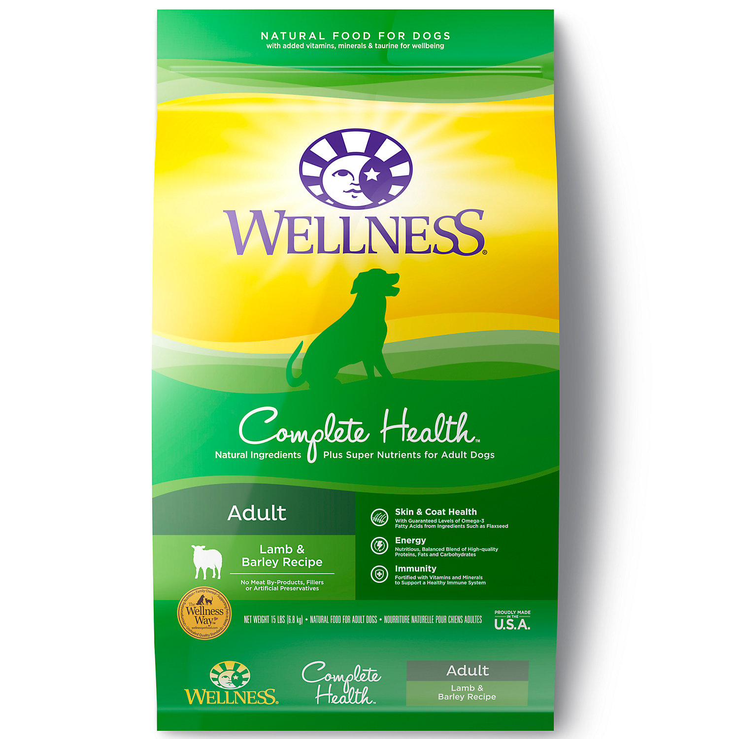 Wellness Complete Health Natural Lamb Barley Salmon Meal Recipe Dry Dog Food 15 Lbs.