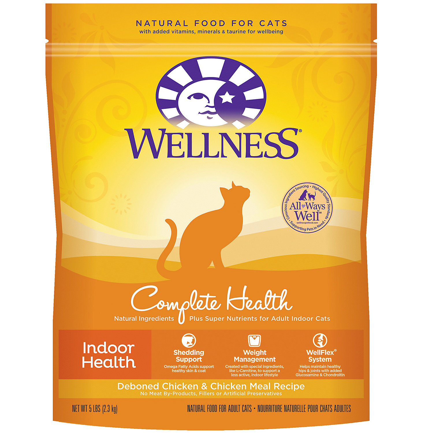 Wellness Complete Health Natural Dry Cat Food Indoor Health Chicken Recipe 2.5 Pound Bag