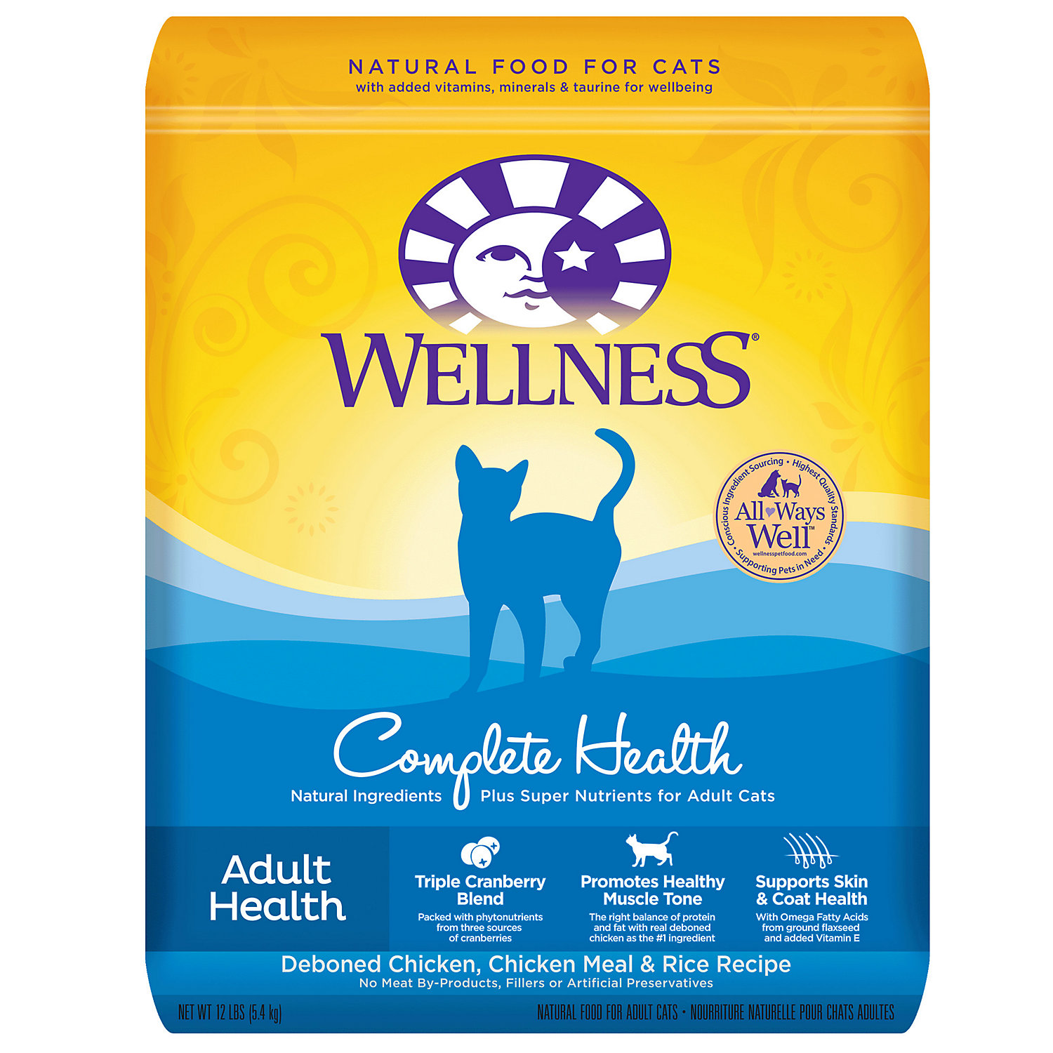 Wellness Complete Health Natural Deboned Chicken Chicken Meal Rice Dry Cat Food 12 Lbs.