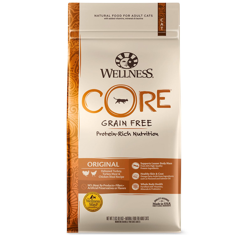 Wellness Core Natural Grain Free Original Turkey Chicken Whitefish Herring Dry Cat Food 2 Lbs.