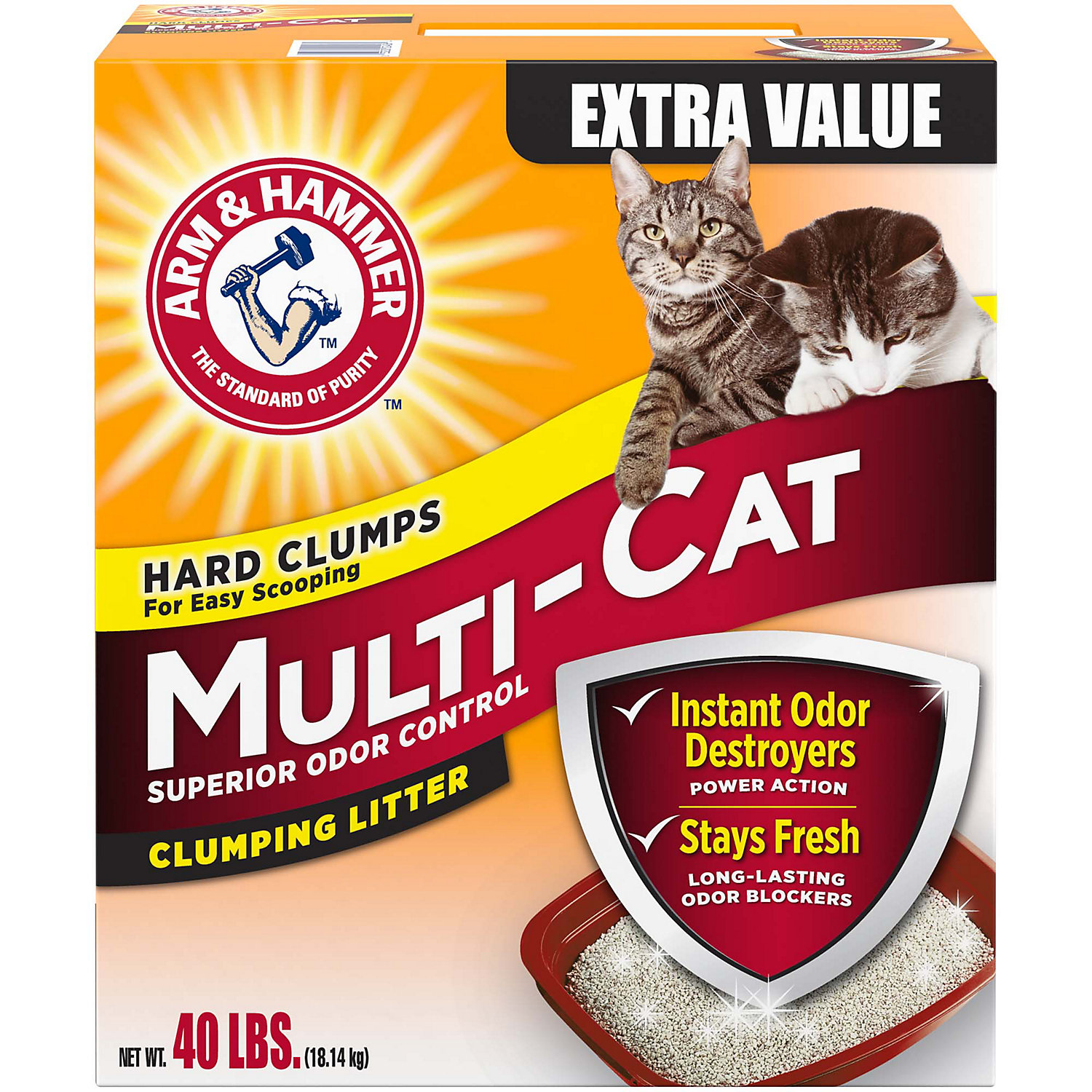 Arm & Hammer Multi-cat Superior Odor Control Scented Clumping Cat Litter, 40 Lbs.