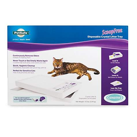 PetSafe ScoopFree Cat Litter Box Tray Refills with Sensitive Non Clumping Crystals Single Pack