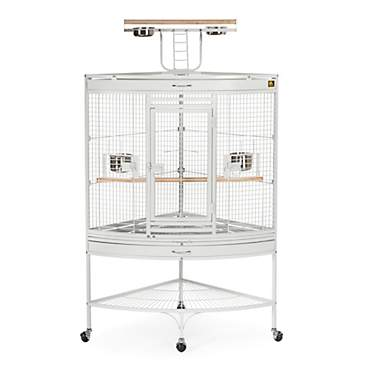 Prevue Pet Products Corner Parrot Signature Series Wrought Iron Bird Cage in White