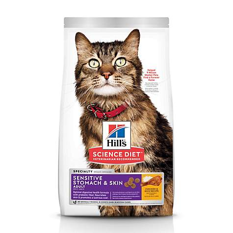 Hill's Science Diet Adult Sensitive Stomach & Skin Chicken & Rice Recipe Dry Cat Food | Petco