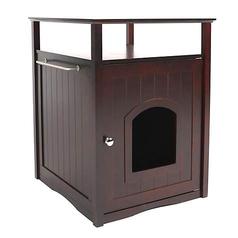 Merry Products Cat Washroom-Night Stand & Pet House in Espresso