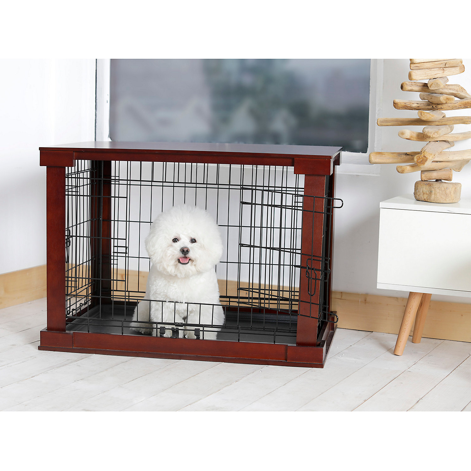 Merry Cage With Crate Cover Mahogany, Medium