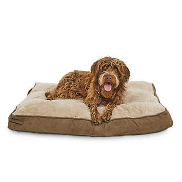 Brown and Tan Memory Foam Rectangular Pillow Dog Bed