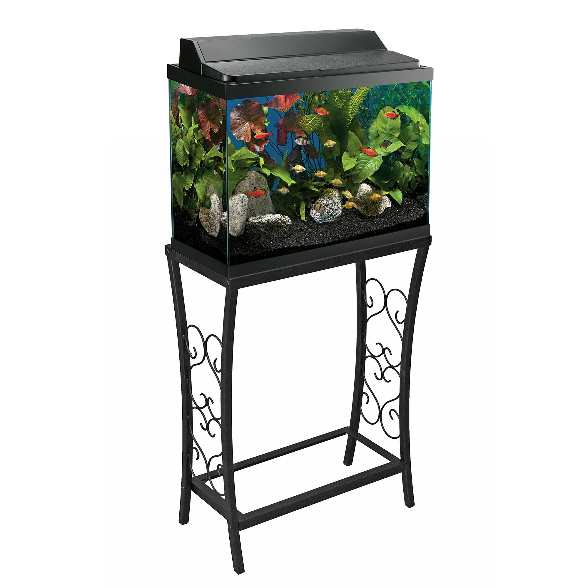 Aquatic Fundamentals Black Scroll Aquarium Stand 10 Gallons