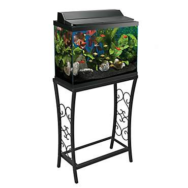 Aquatic Fundamentals Black Scroll Aquarium Stand, 10 Gallons