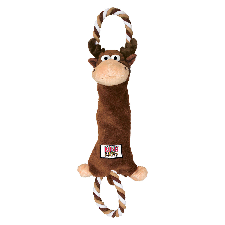 Kong Tugger Knots Moose Dog Toy Medium Brown
