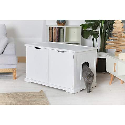 Merry Products White Jumbo Washroom Bench Cat Litter Box Cover