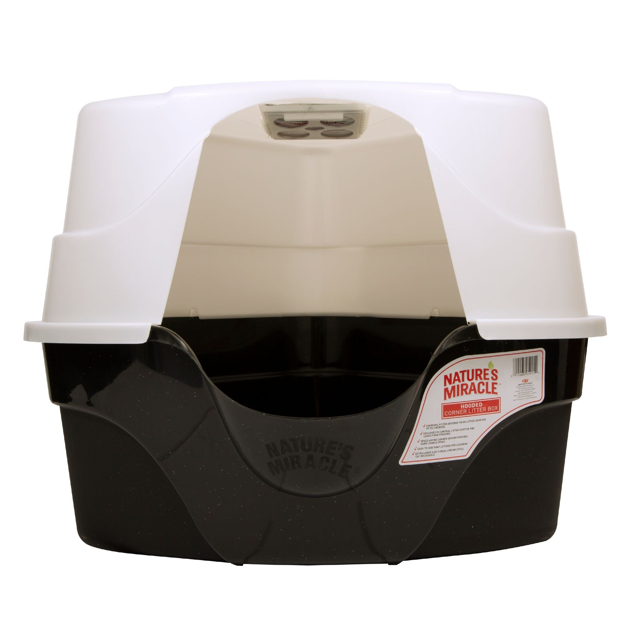 Nature's Miracle Hooded Corner Litter Box With Odor Control Charcoal Filter  | Petco