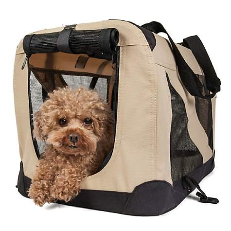 Pet Life Folding Zippered 360 Degree Vista View House Pet Crate in Khaki