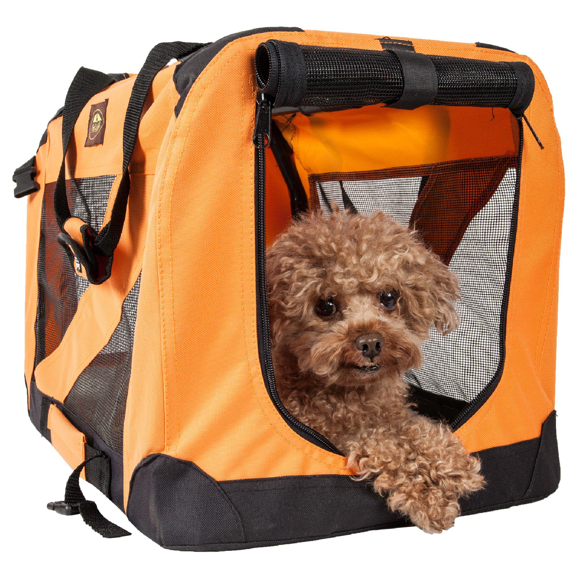 Pet Life Folding Zippered 360 Degree Vista View House Pet Crate In Orange, Small