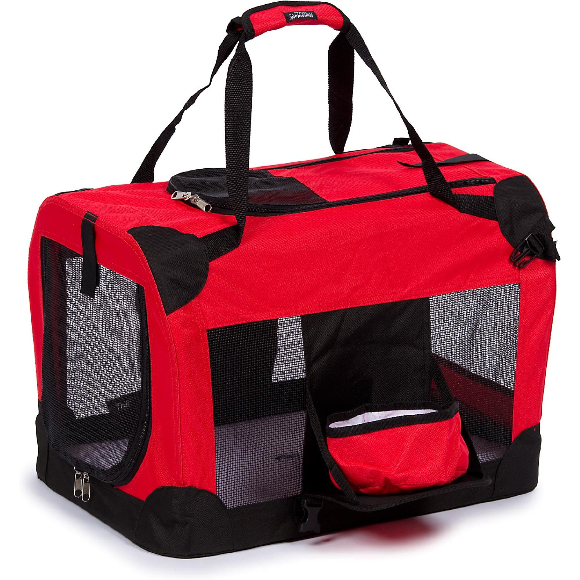 Pet Life Folding Deluxe 360 Degree Vista View House Pet Crate In Red, X Small