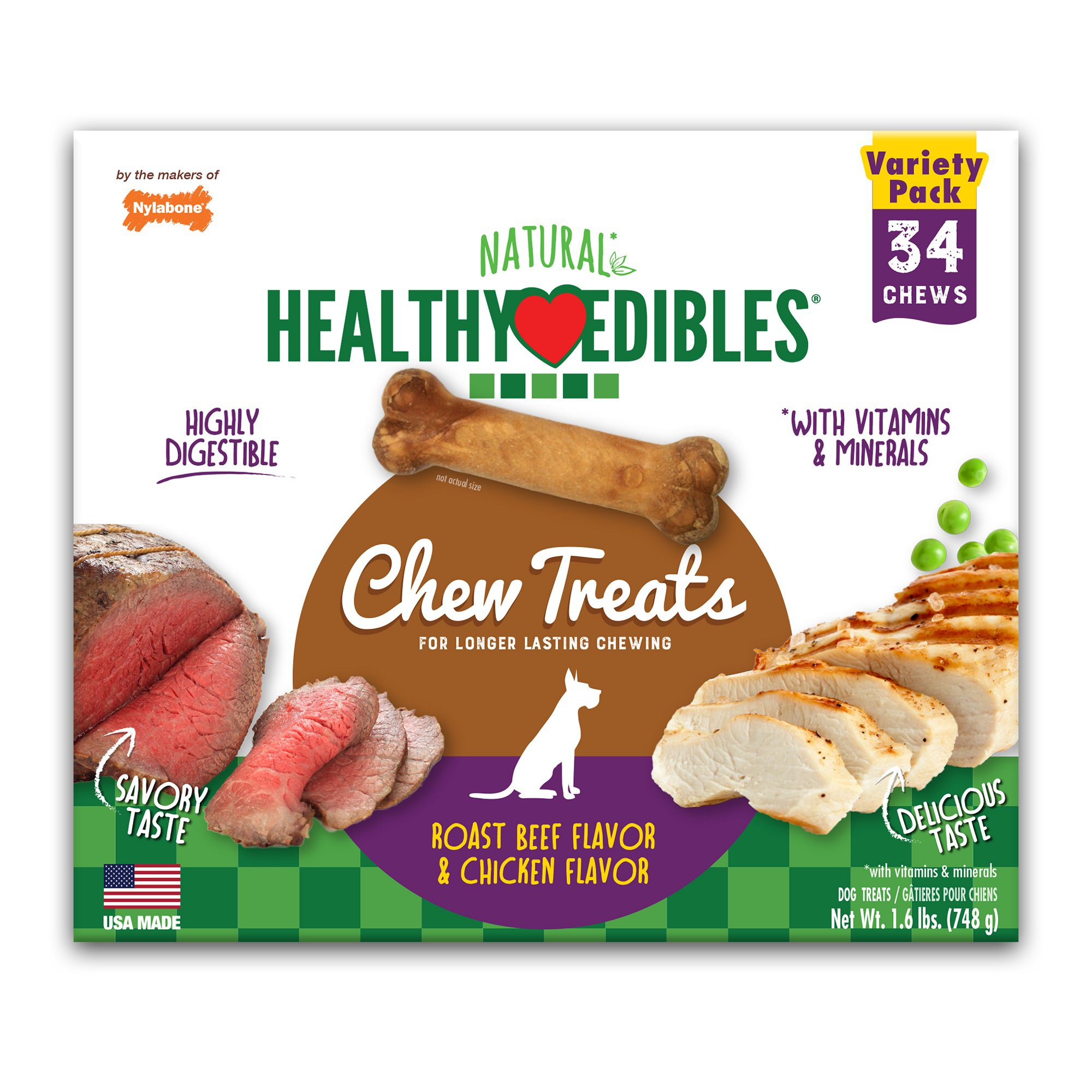 Nylabone Healthy Edibles 2 Flavor Variety Pack Petite Dog Bone Chews, X-Small, 26.3 oz.
