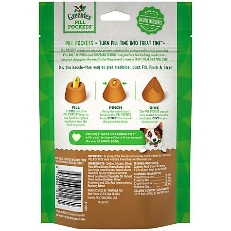 Greenies Pill Pockets Capsule Size Dog Treats With Real Peanut Butter, 7 9  oz , Count of 30