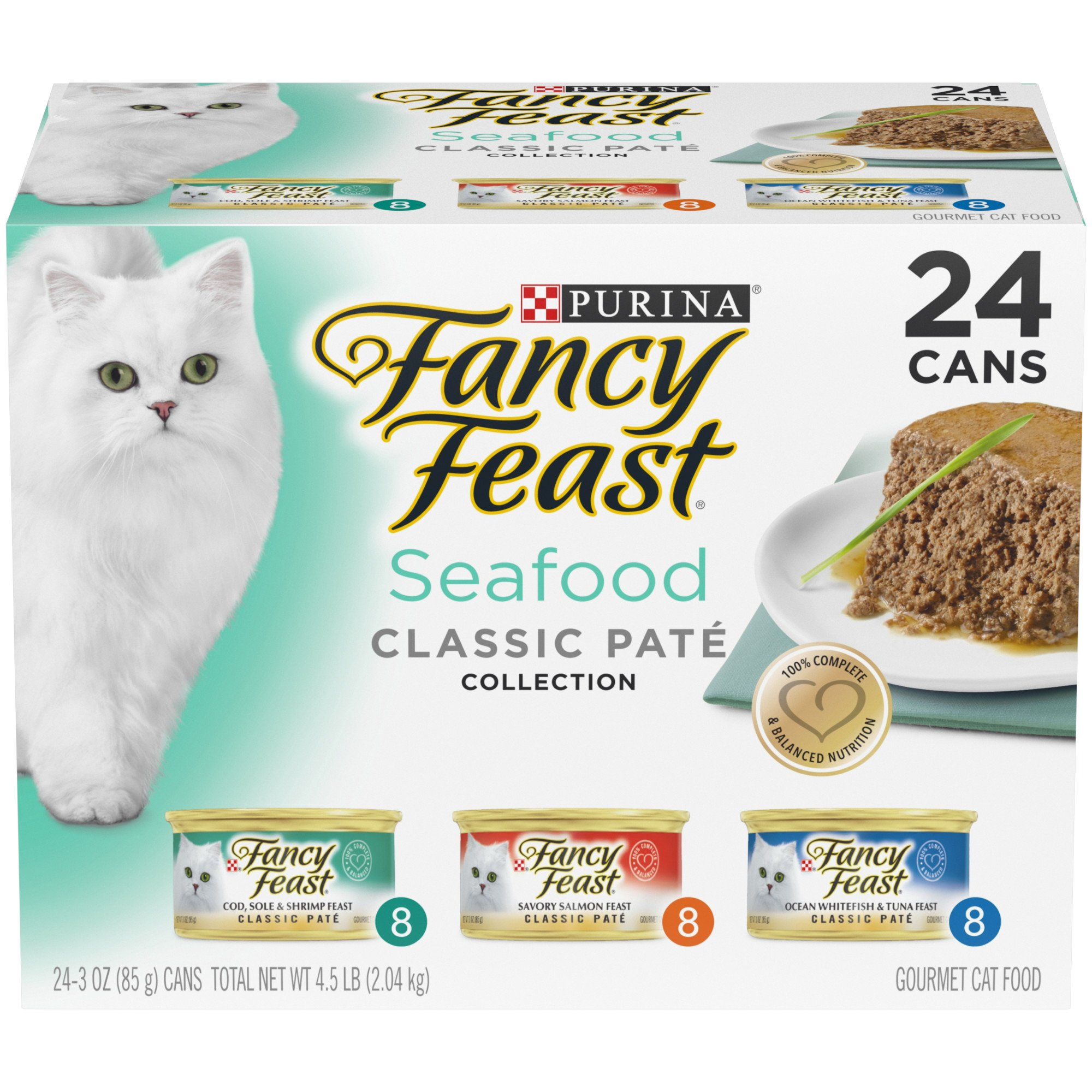 Purina Fancy Feast Seafood Classic Pate Wet Cat Food, 3 oz., Case of 24