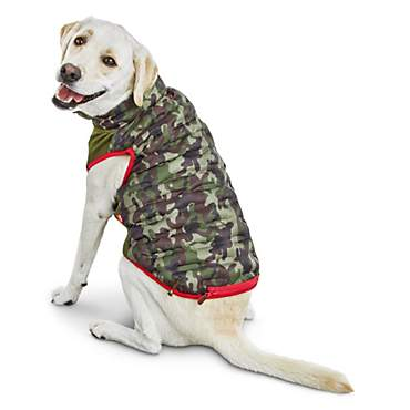 Reddy Camo Zip-and-Stow Dog Puffer Jacket
