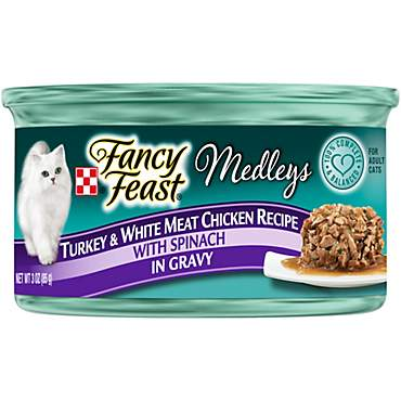 Fancy Feast Elegant Medleys Tastemakers Turkey & White Meat Chicken with Spinach in Gravy Canned Cat Food