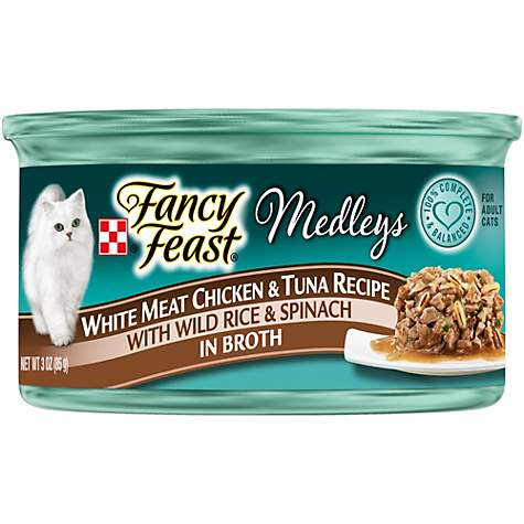 Fancy Feast Elegant Medleys Tastemakers White Meat Chicken & Tuna with Wild Rice & Spinach in Broth Canned Cat Food