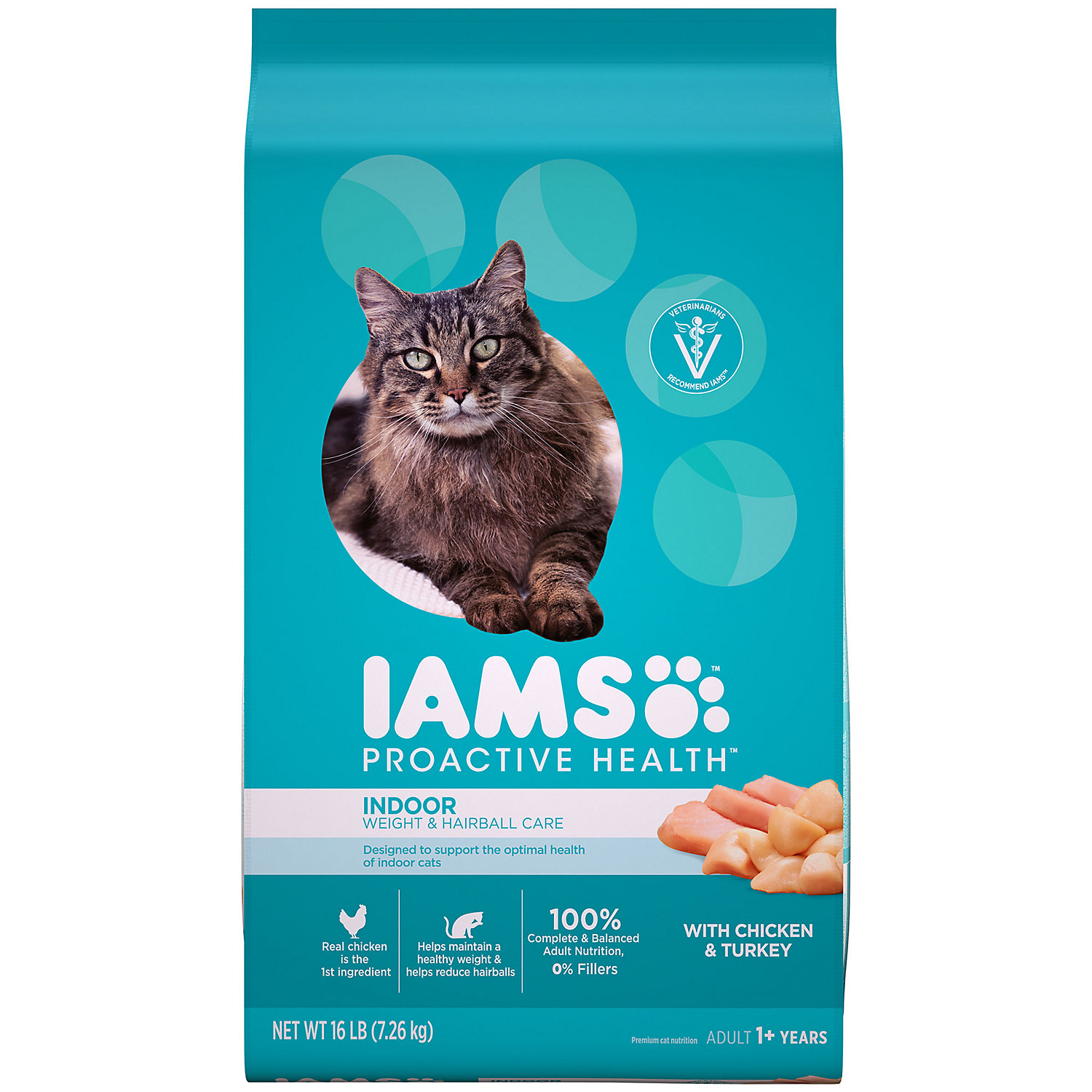 Iams Proactive Health Indoor Weight Hairball Care Dry Cat Food 16 Lbs.