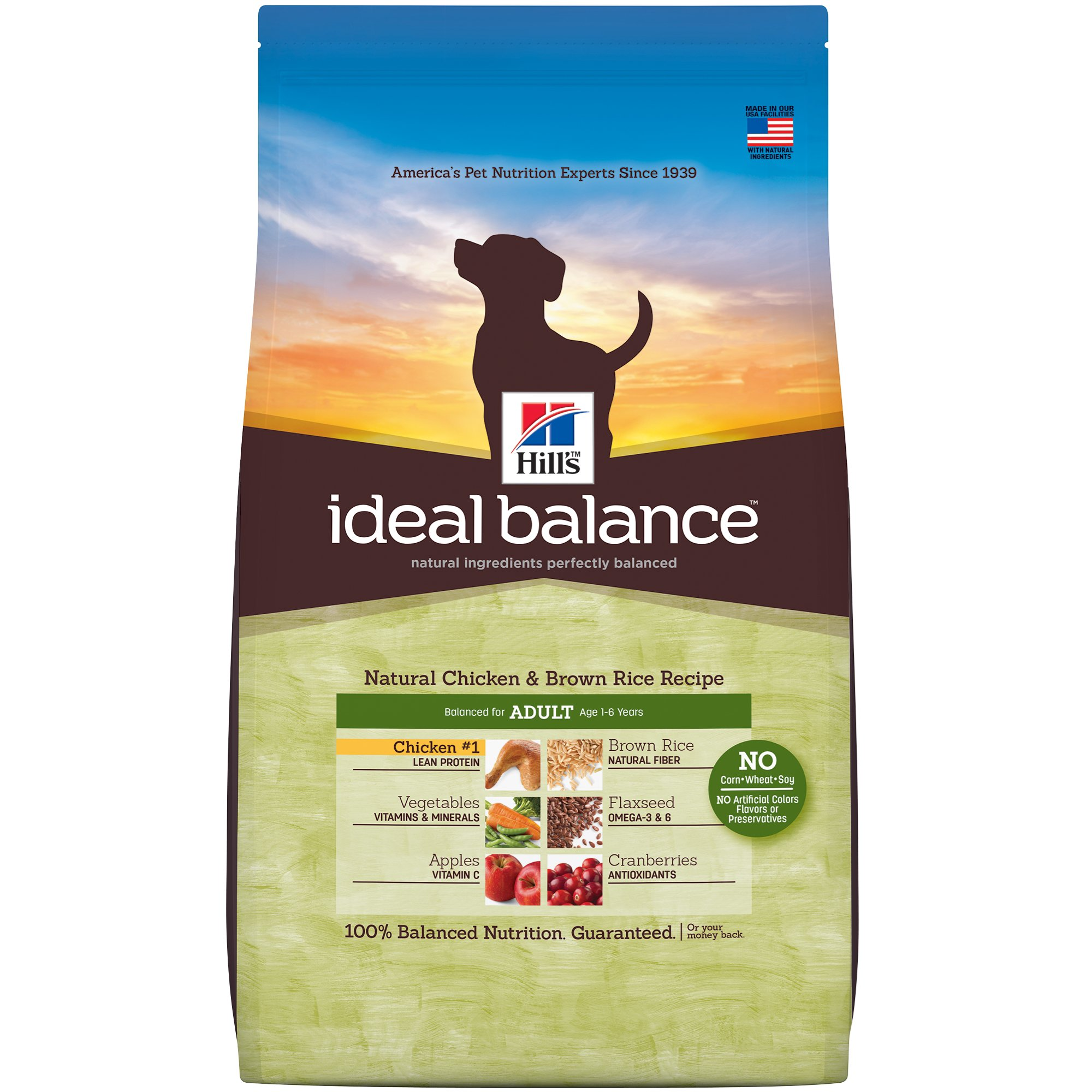 Hill's Ideal Balance Adult Natural Chicken & Brown Rice Recipe Dry Dog Food, 15 Lbs., Bag