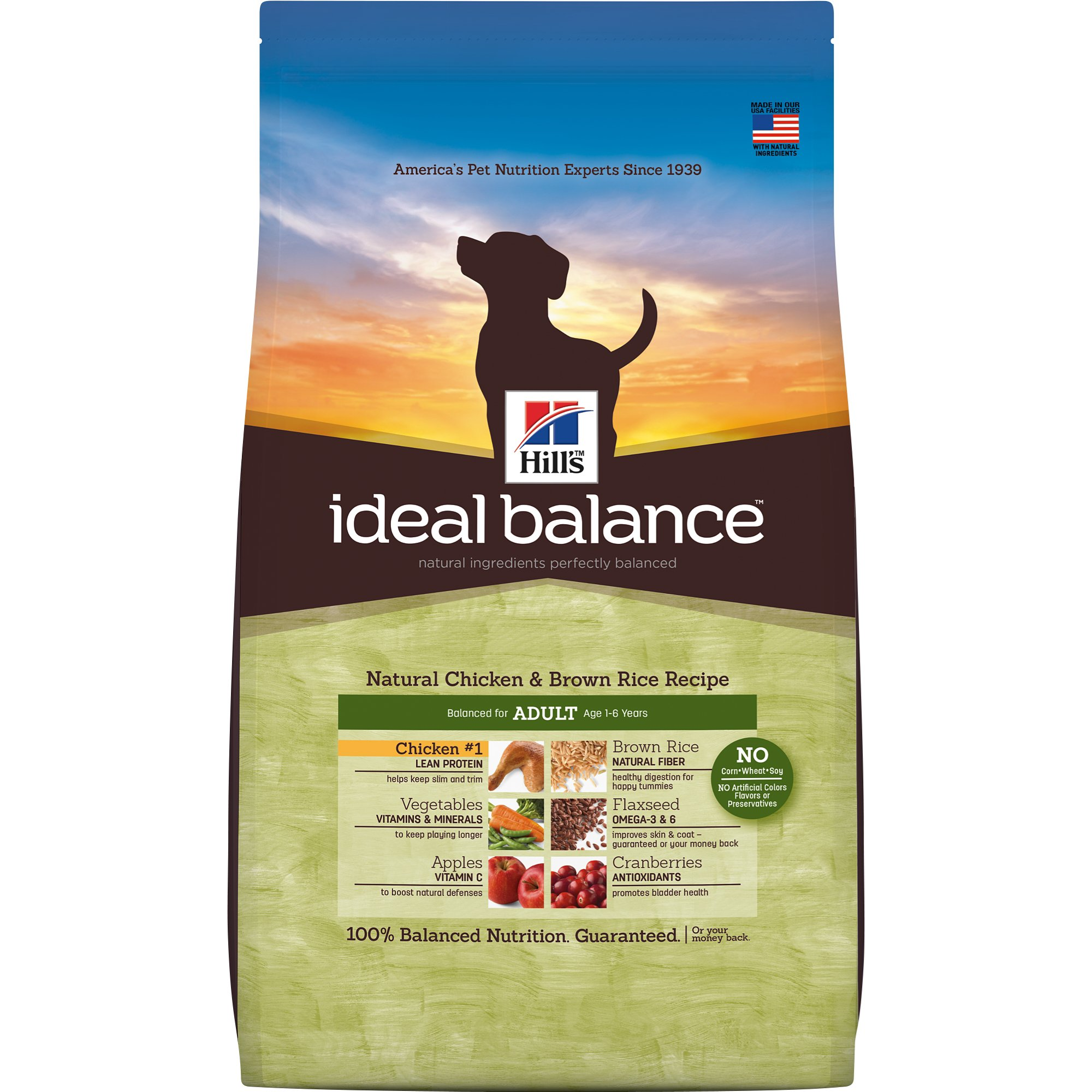 Hill's Ideal Balance Adult Natural Chicken & Brown Rice Recipe Dry Dog Food, 30 Lbs., Bag