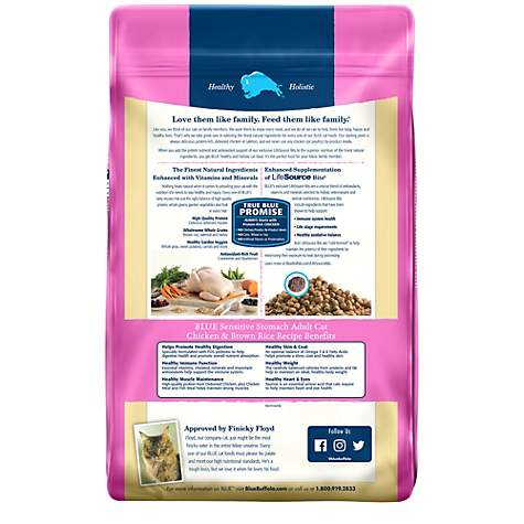 Blue Buffalo Blue Sensitive Stomach Adult Chicken & Brown Rice Recipe Dry Cat Food, 15 lbs. | Petco