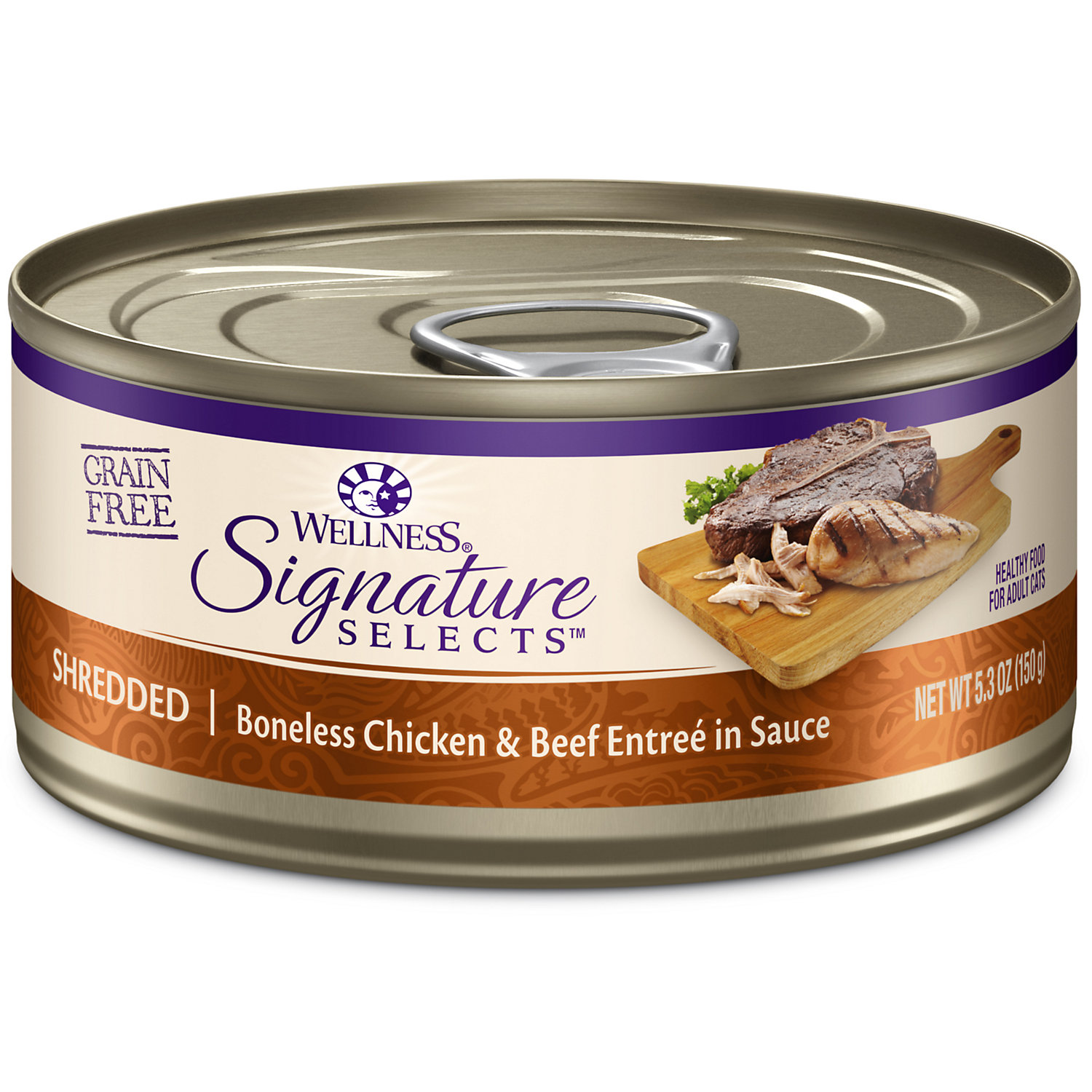 Wellness Core Signature Selects Natural Canned Grain Free Wet Cat Food, Shredded Chicken & Beef, <br /><br />Case of 12, 5.3-ounce Can