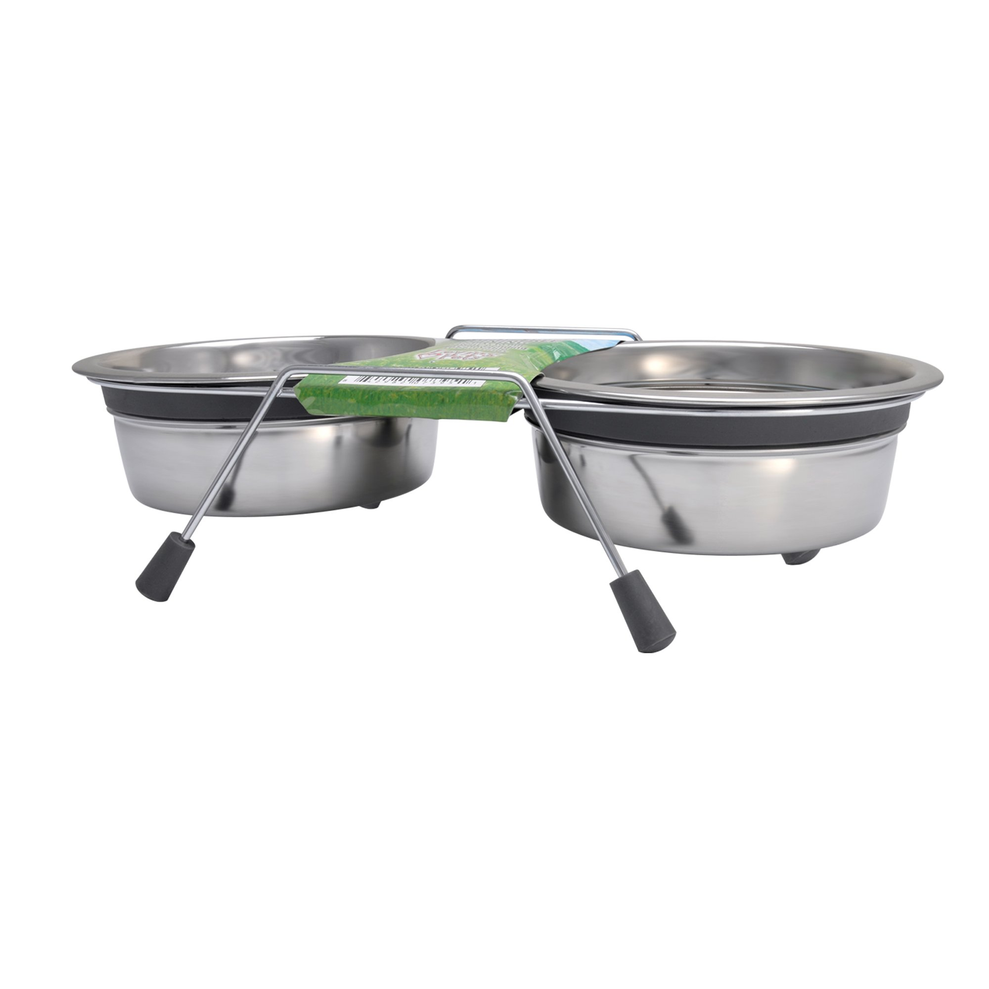 Image of Loving Pets Silent Gray Double Diner, 6 FZ, Silver