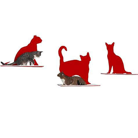 The Refined Feline Silhouette Cat Shelf Set of 3 in Red