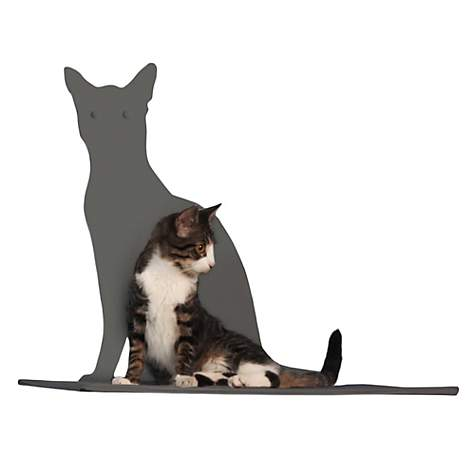 The Refined Feline Perch Silhouette Cat Shelf in Titanium