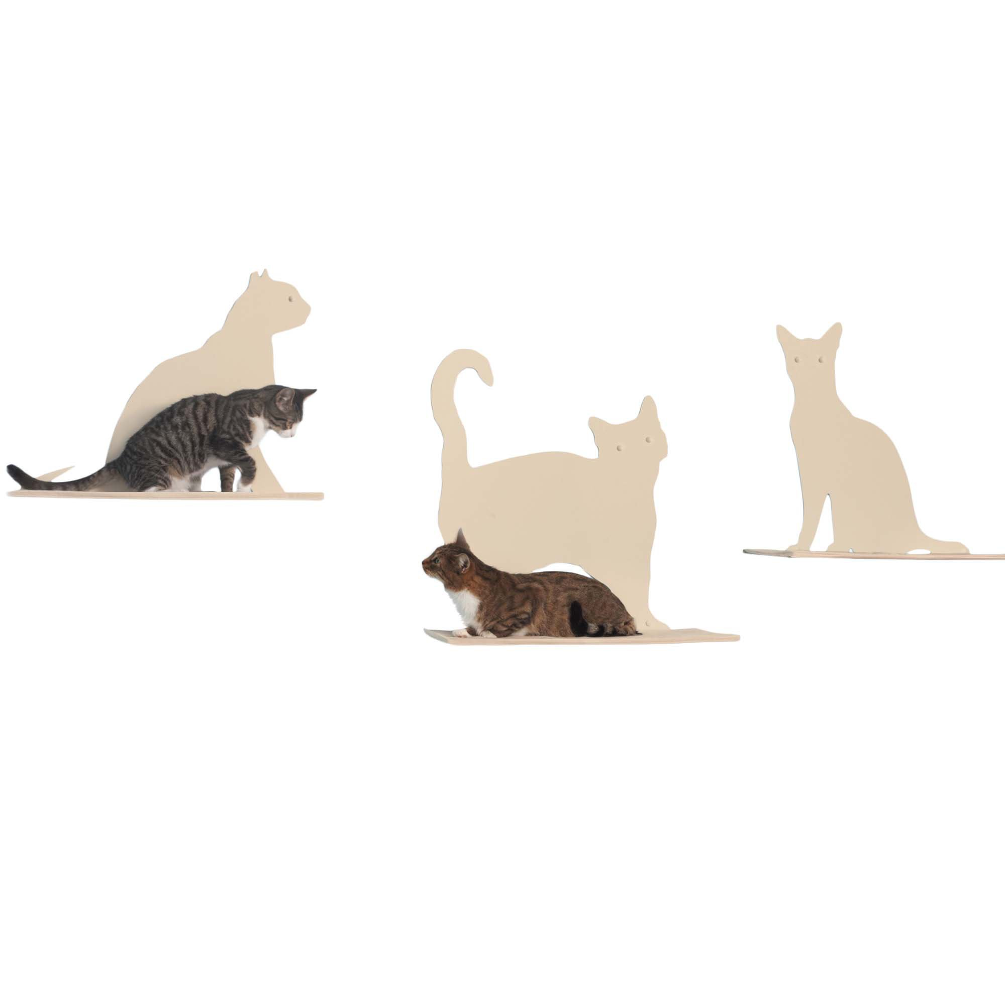 The Refined Feline Silhouette Cat Shelf Set of 3 in Off-White