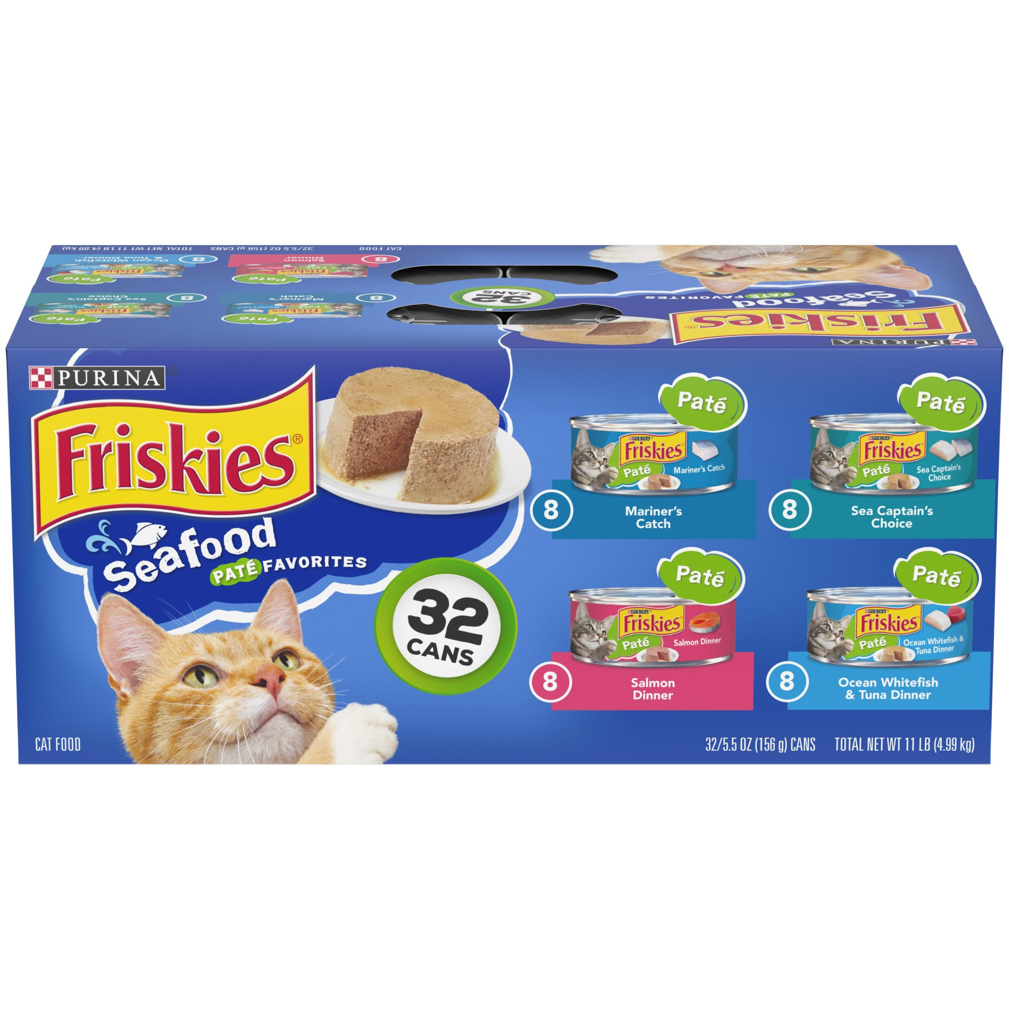 Purina Friskies Pate Seafood Favorites Wet Cat Food Variety Pack, 5.5 oz., Count of 32