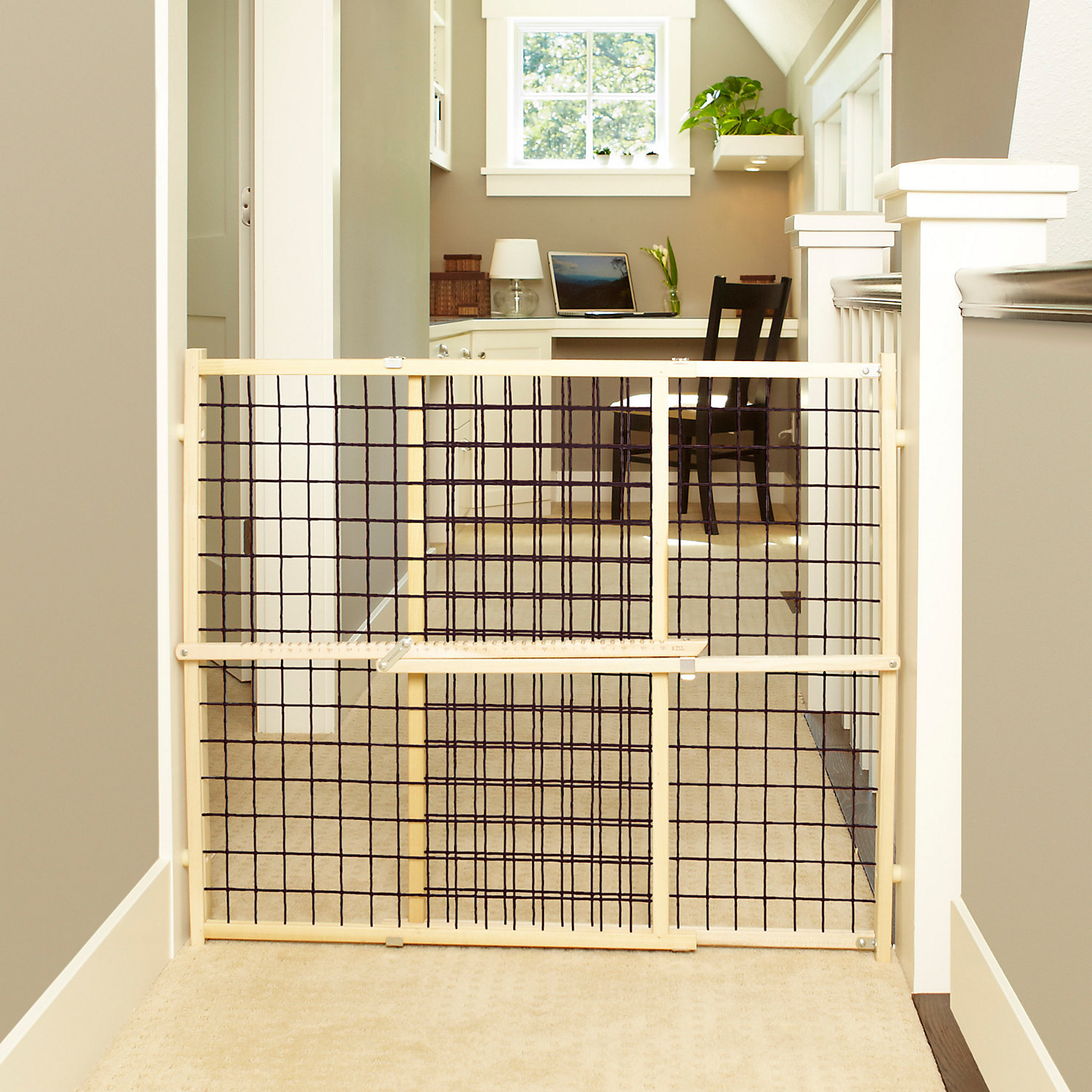 My Pet Wood Frame Wire Mesh Pet Gate, Tan