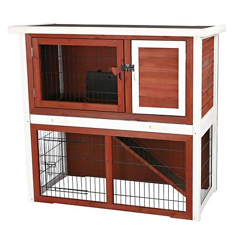 Trixie Natura Animal Hutch with Enclosure in Brown & White