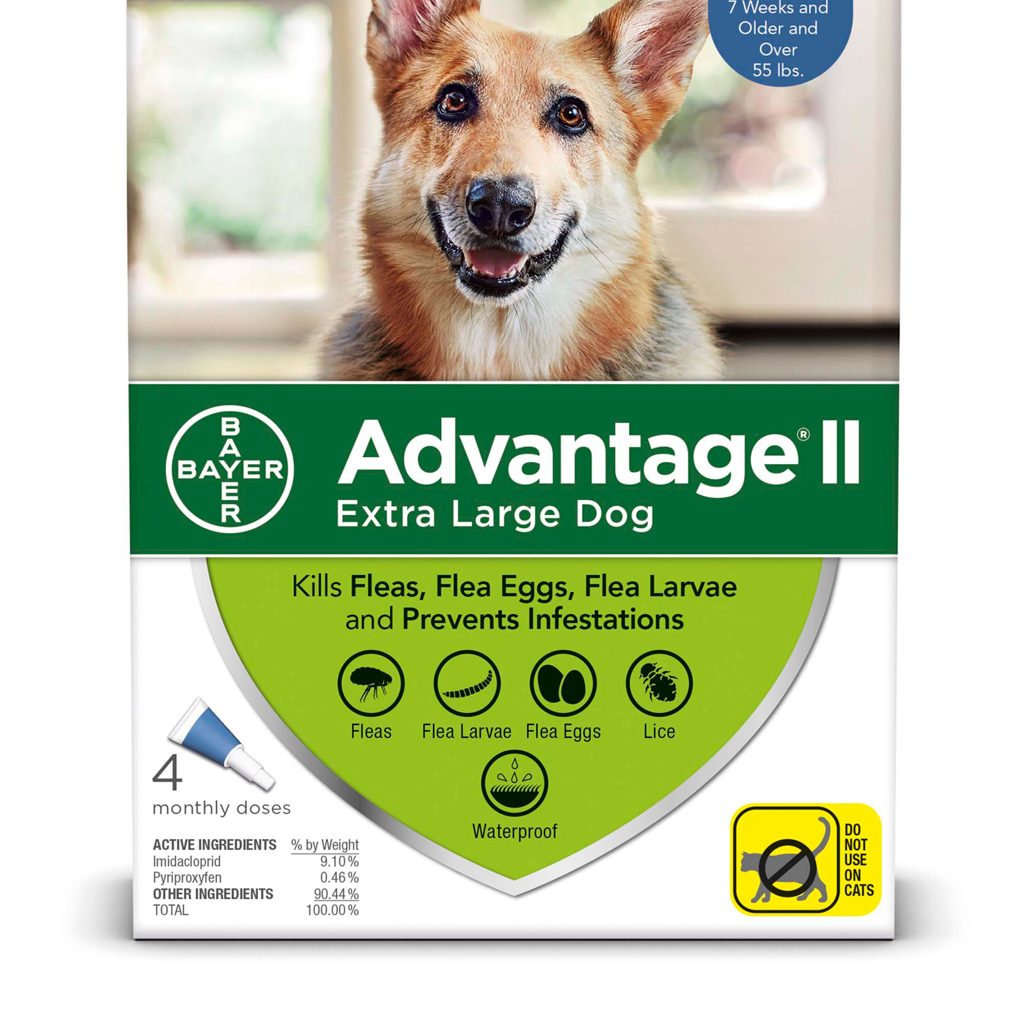 Advantage II Once-A-Month Topical Flea Treatment for Dogs & Puppies Over 55  lbs , Pack of 4