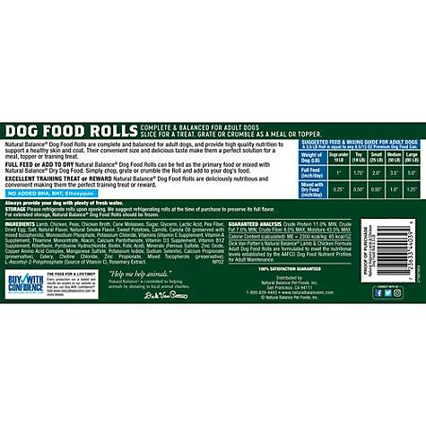 Natural Balance Lamb Chicken Formula Dog Food Rolls Petco