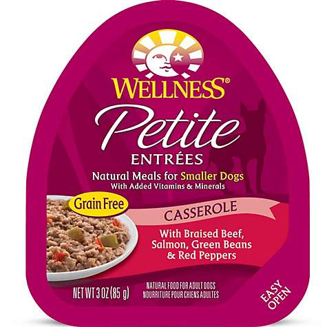 Wellness Petite Entrees Casserole Grain Free Braised Beef, Salmon, Green Beans & Red Peppers Wet Dog Food