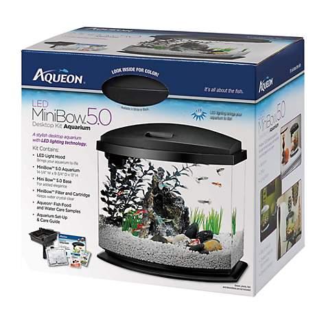 aqueon minibow led desktop fish aquarium kit in black   petco