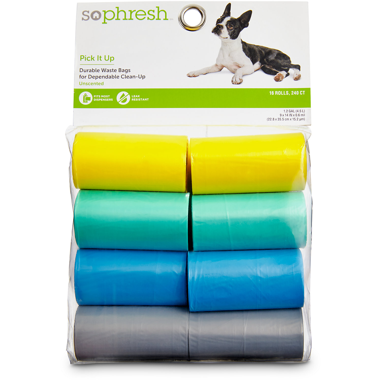 So Phresh Pick It Up Dog Waste Bags Teal/yellow 240 Count Large Teal / Yellow