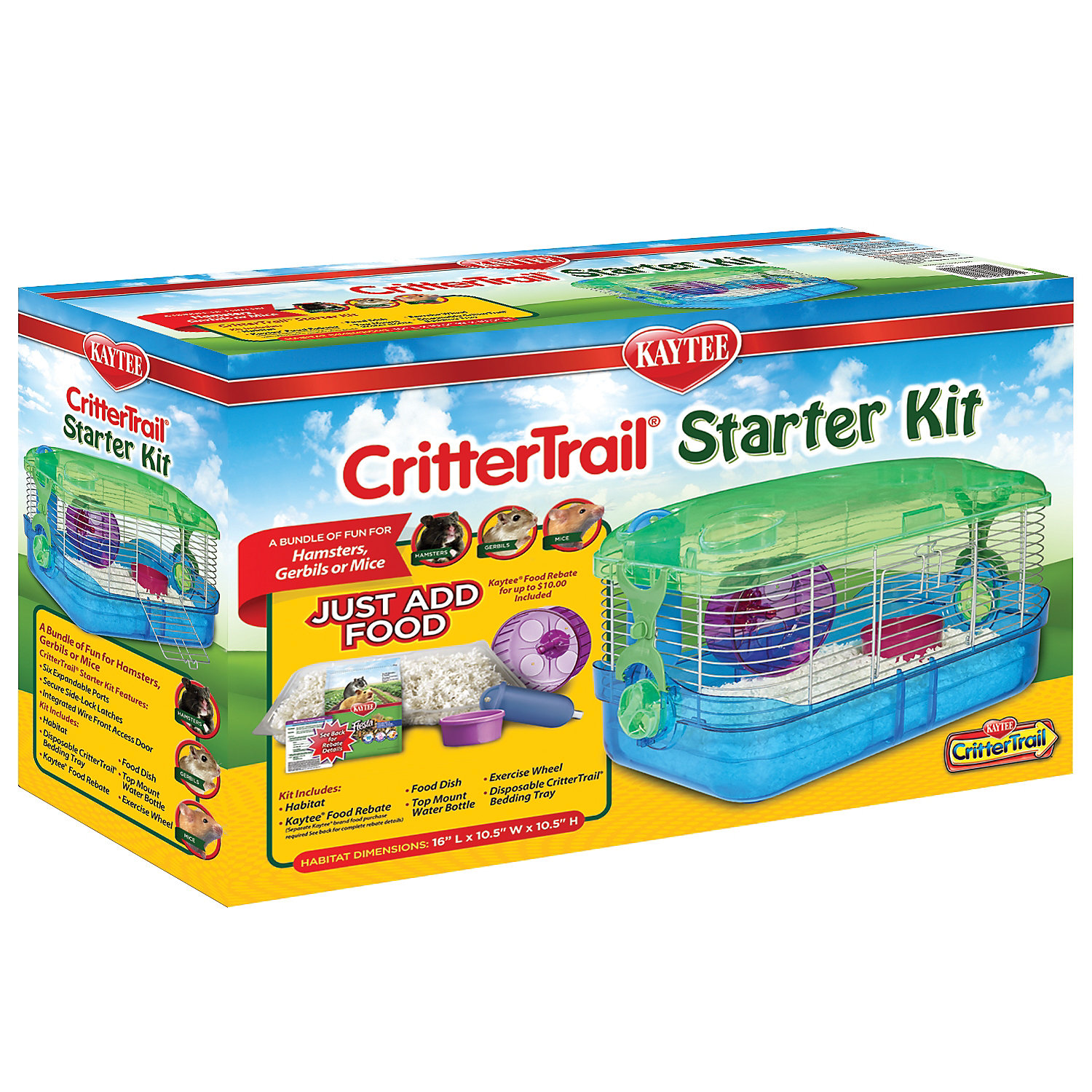 "Image of ""Kaytee CritterTrail Small Animal Habitat Starter Kit, 16"""" L X 10.5"""" W X 10"""" H, Multi-Color"""