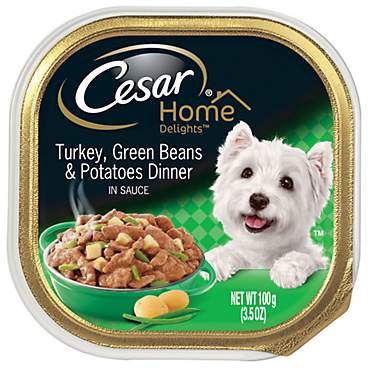 CESAR HOME DELIGHTS Turkey, Green Beans & Potatoes Dinner Wet Dog Food Trays
