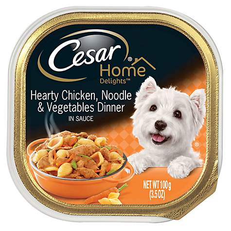 CESAR HOME DELIGHTS Hearty Chicken, Noodle and Vegetable Dinner Wet Dog Food Trays