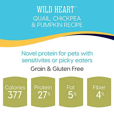 Solid Gold Grain-Free & Gluten Free Wild Heart with Natural Quail, Chickpea  & Pumpkin Adult Dry Dog Food, 24 lbs