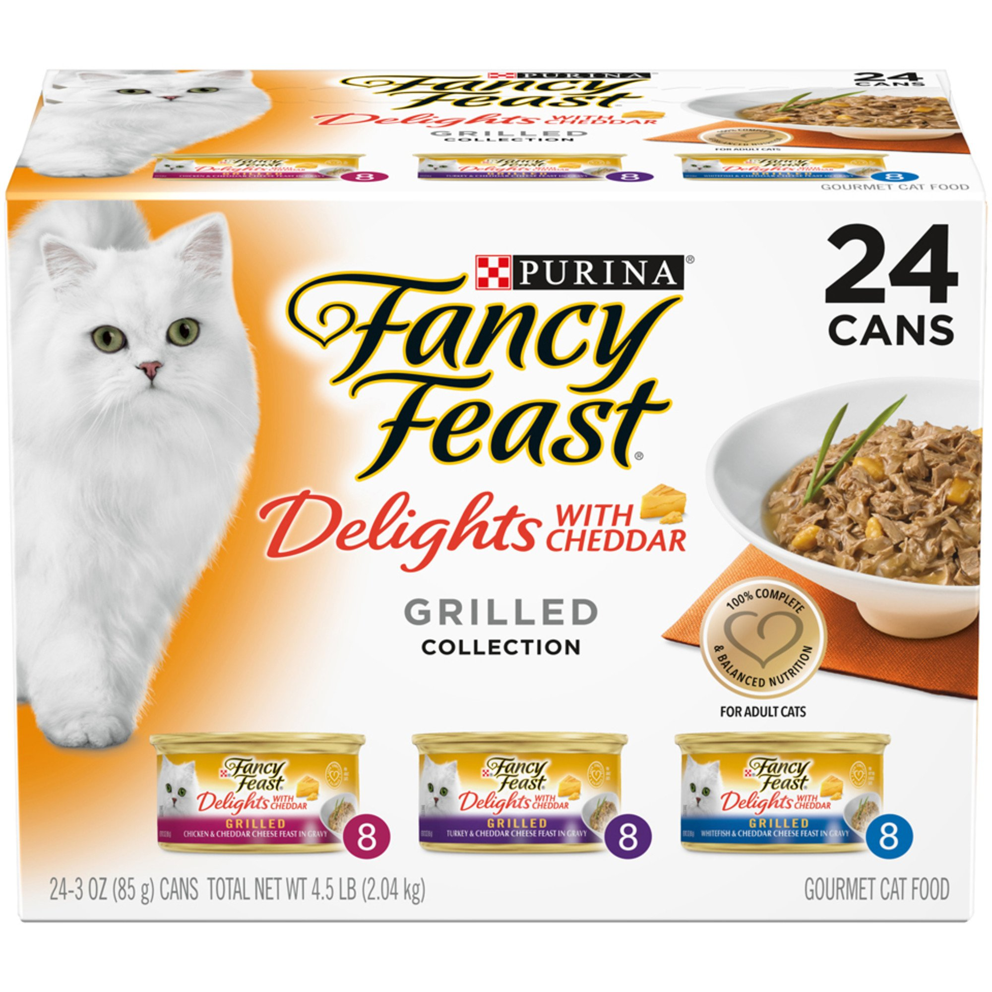 Purina Fancy Feast Gravy Delights With Cheddar Grilled Collection Wet Cat Food Variety Pack, 3 oz., Count of 24