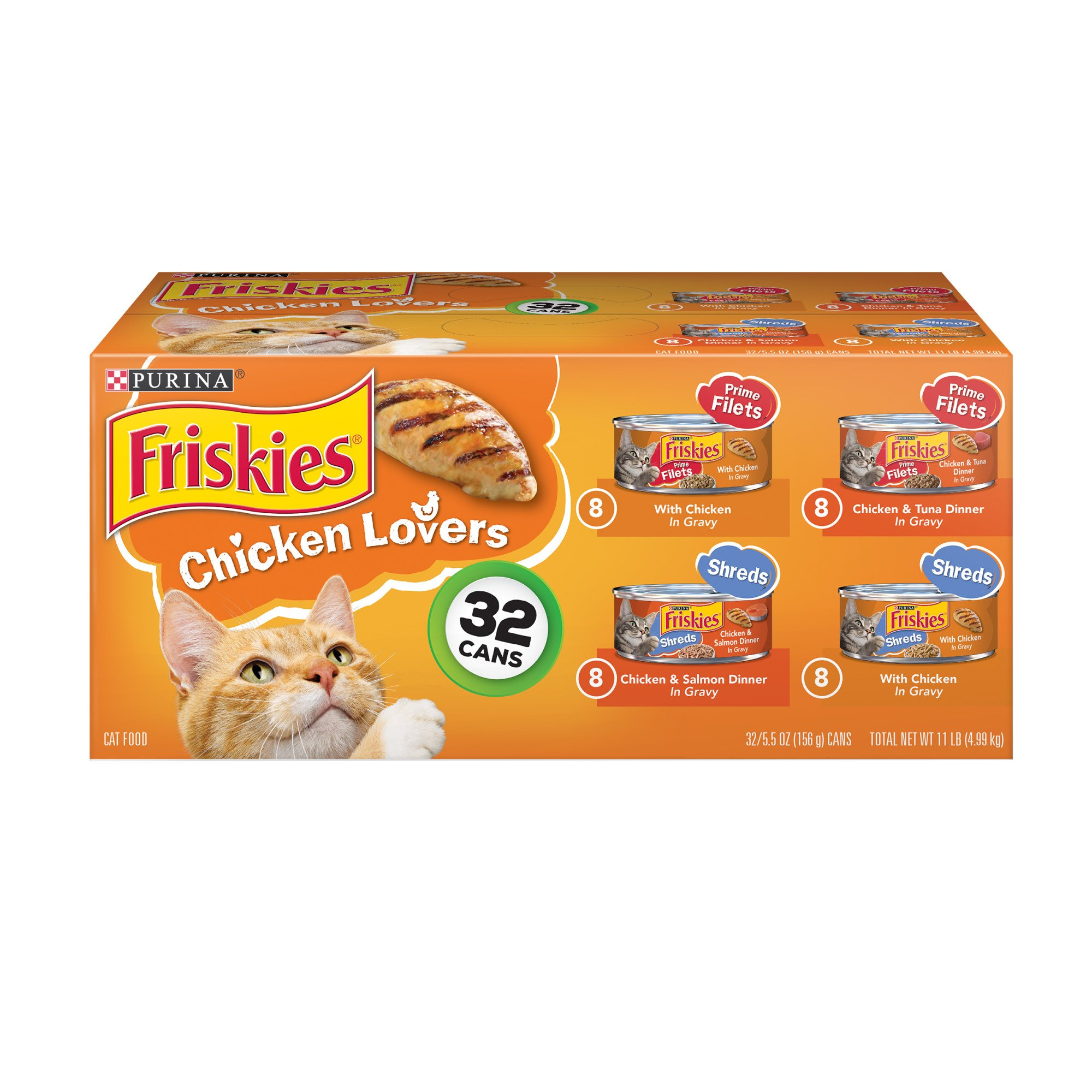 Purina Friskies Chicken Lovers Shreds & Filets Adult Wet Cat Food Variety Pack, 5.5 oz., Count of 32