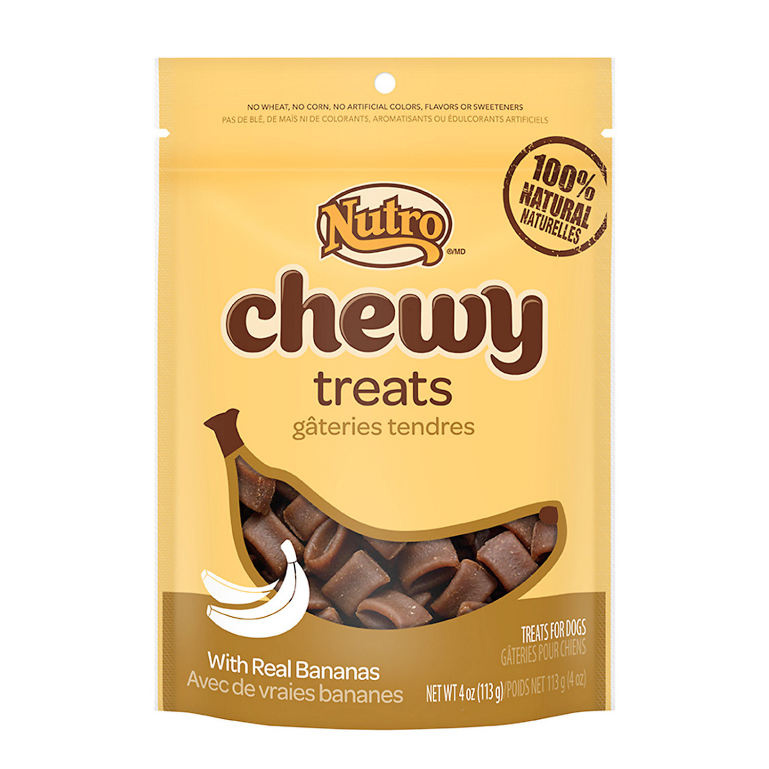 Nutro Chewy Dog Treats With Real Bananas 4 Oz.
